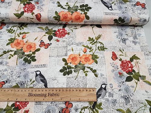 Bird fabric, Floral fabric, cotton 100% cotton print