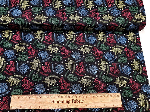 Harry Potter fabric, Hogwarts Fabric on black, 100% Cotton Fabric