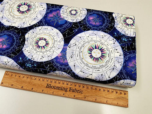 Astrology fabric, star sign fabric, Magical Galaxy, Metallic fabric