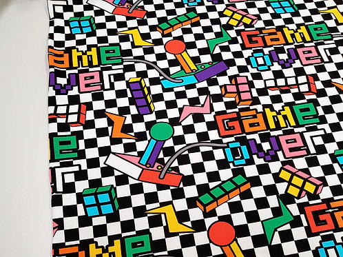 Gamer Jerseys fabric, vintage video game controllers fabric, Cotton, 80s, 90s
