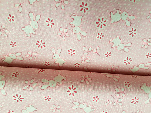 Cotton fabric Penny Rose Pink Toy bunny fabric cotton