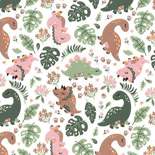 Dinosaurs, pastel colours, Cotton Jersey, Cotton knit fabric