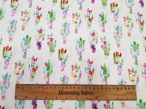 Watercolour plant fabric, cactus fabric, on white