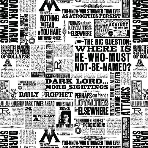 Harry Potter wizard Newsprint in White, 100% Cotton Fabric
