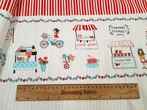 Vintage Market Red Border fabric, 100% cotton woven