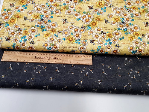 Cotton fabric, be kind, be respectful, Bee fabric