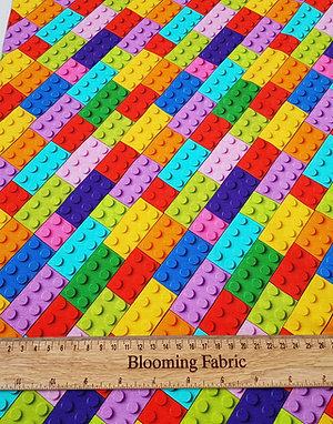 Lego bricks diagonal pattern, Jerseys fabric, knit fabric