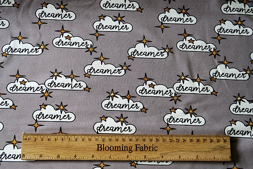 Dreamer/ cloud stretchy fabric, Cotton knit fabric