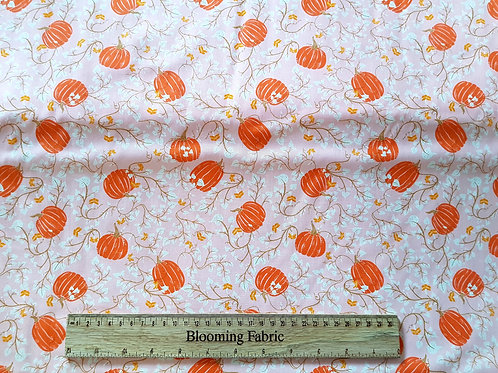 Pumpkin fabric, Fall Cotton Fabric, Autumn flower fabric, craft and clothing
