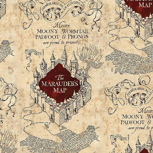 Marauders Map Fabric, Harry Potter, 100% Cotton Fabric