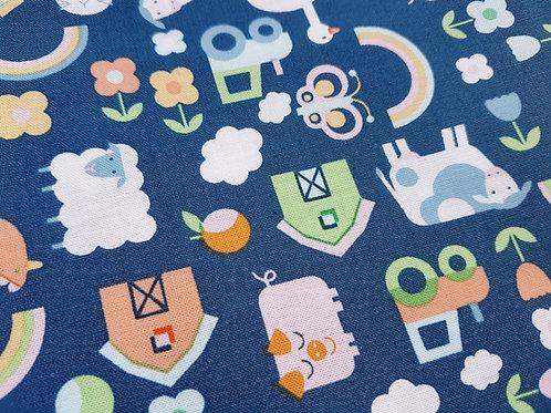 Farm Animal fabric, animal print cotton, Country Life fabric