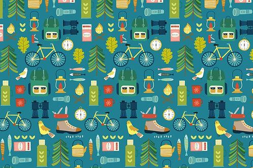 Camping fabric, Adventure fabric, Travel fabric, hobby fabric, 100% cotton woven