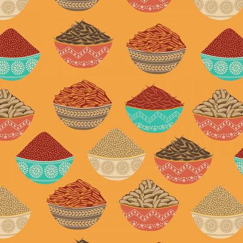 Cotton fabric, Indian Spices fabric, New Delhi 100% cotton print