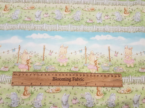 Nursery fabric, Bunny fabric, flower fabric, Meadow Bunnies baby fabric