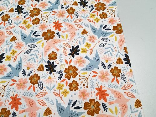 Floral Cotton Corduroy Fabric, Babycord bird  fabric
