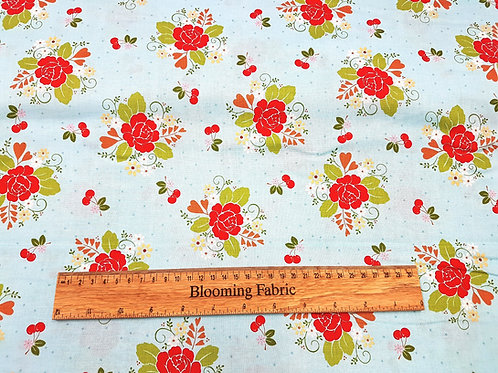 Riley Blake cotton fabric, Cherry fabric, Floral fabric, 100% cotton print