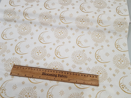Sun and Moon Metallic fabric, Space fabric, craft and clothing