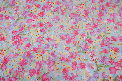 Pink Floral fabric, small Flower print cotton, 100% cotton print