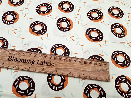 Donut cotton fabric, 100% woven cotton Food fabric print