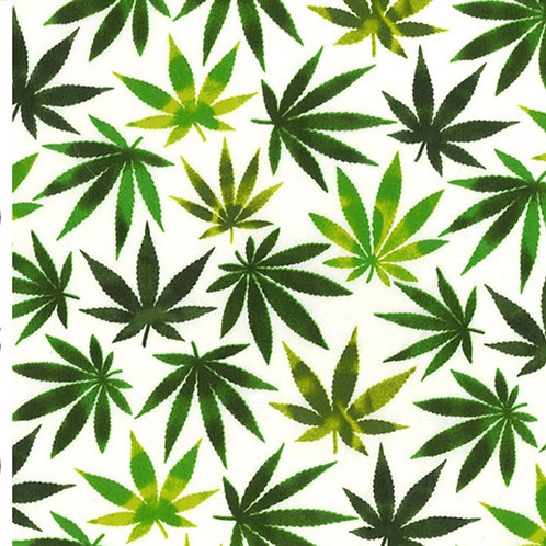 Herb fabric Cannabis Leaf, green leaves on ivory, leaves 100% cotton poplin