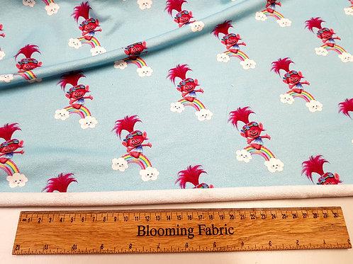 Trolls fabric, Poppy troll stretchy fabric, Rainbow Cotton knit fabric