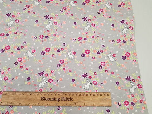 White rabbit fabric, Michael Miller fabric , flower Bunny Tracks