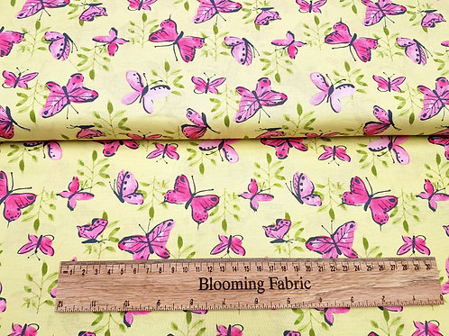 Pink Butterfly fabric, small cotton print