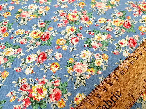 Floral fabric, roses on blue, Ditsy flowers fabric 100% cotton poplin
