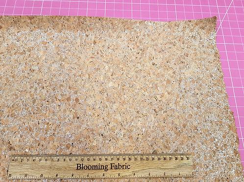 Natural Cork Vinyl Fabric, Silver glitter