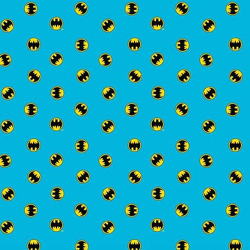 Batman logo on blue fabric, Superhero fabric, 100% cotton