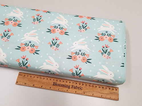Spring fabric, Easter fabric, Bunny fabric, flower fabric, Mint floral