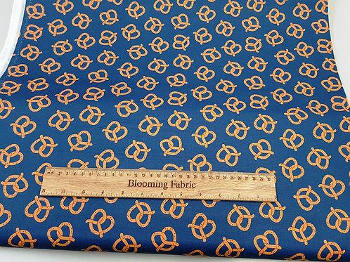Pretzels cotton fabric, Navy snack fabric