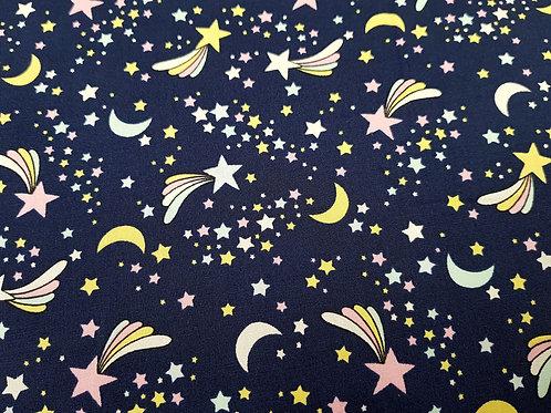 Cotton fabric, Shooting star fabric, stars on navy nurserie  cosmos fabric