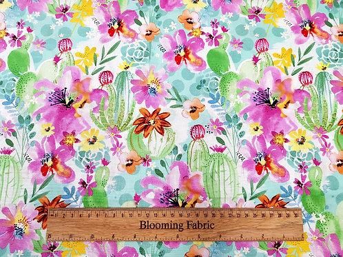 Watercolour plant fabric, cactus fabric