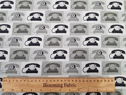 Vintage Telephone fabric print, Retro fabric, 50's fabric print