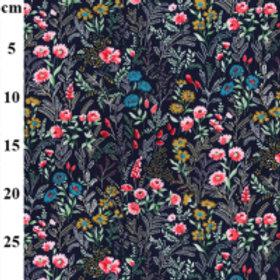 Flowers on navy fabric Flower print, 100% cotton print