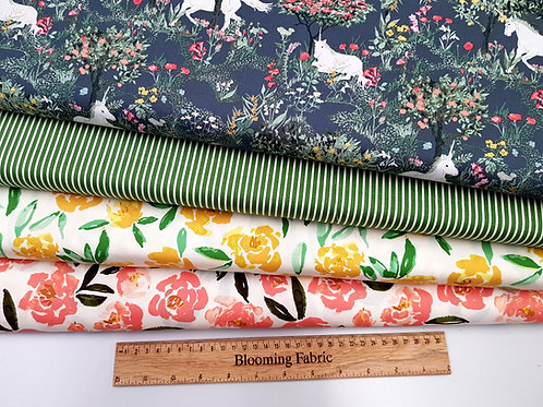 Unicorn fabric, Flower fabric, green stripes cotton fabric, print craft and clot