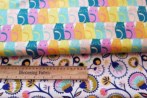 Cats fabric, animal fabric, Pastel cat fabric, Premium quality 100% cotton