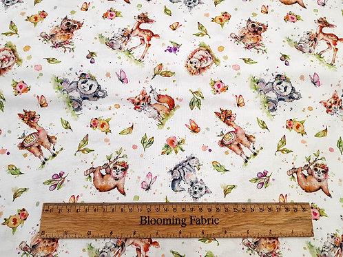 Little Darlings Woodland Animals, watercolour style, Panda, Owl 100% Cotton