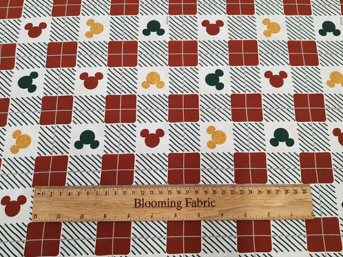 Mickey mouse, Minnie Mouse fabric, Christmas Plaid fabric 100% cotton