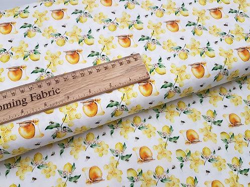 Cotton fabric, bee print fabric, 100% Cotton, Honeycomb Bumble Bee fabric