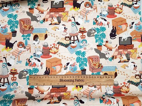 Cat fabric, fun fabric, animal fabric, Cats in hats