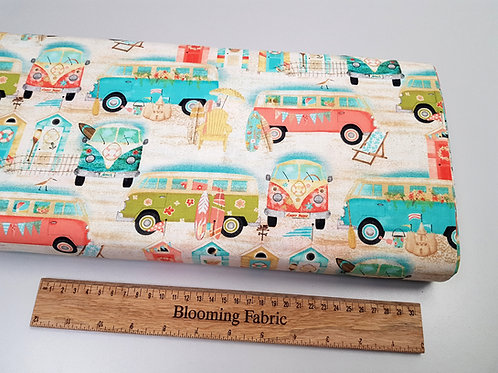 Beach fabric, Lifestyle fabric, Camper Van fabric, 100% cotton