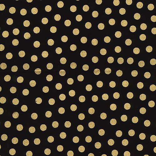 Gold dots on black Glitter spots Sparkle fabric Metallic fabric quilting fabric