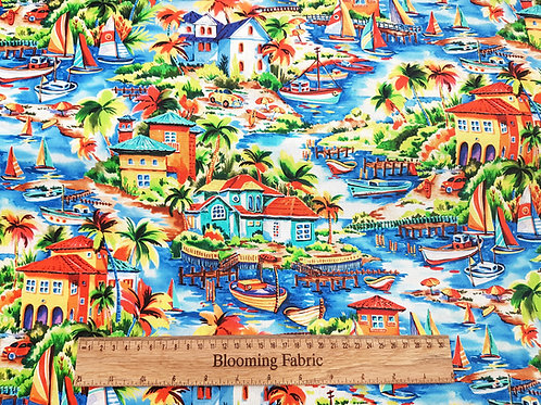 Tropical island cotton fabric, Palm tree fabric retro Hawaii cotton
