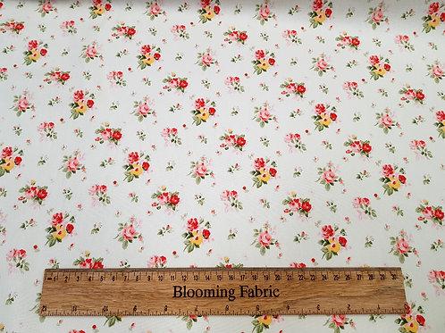 Floral fabric, Flower print on ivory, 100% cotton poplin