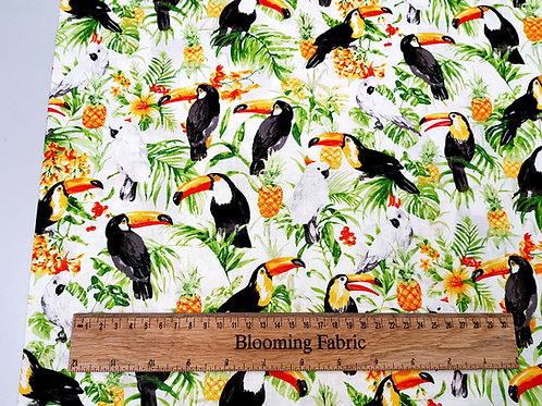 Tropical fabric, toucans fabric, Hawaiian fabric, 100% woven cotton
