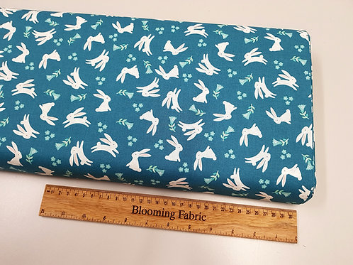 Easter fabric, Rabbit fabric flower fabric, Dark green 100% cotton