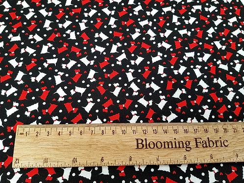 Mini Scottie fabric, dog fabric, heart, heart fabric, 100% cotton