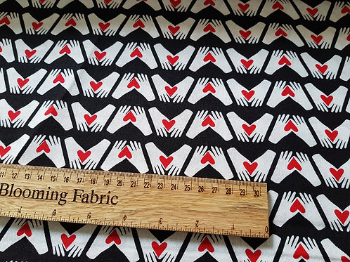 Heart Cotton, love fabric, Helping hands fabric, help people 100% cotton print